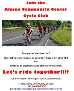"Alpine Community Center ""CYCLE CLUB"" Every Third Sunday of the Month! Come Join Us! @ Alpine Community Center"