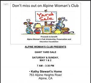 Alpine Woman's Club GIANT YARD SALE @ Kathy Stewarts Home