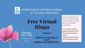 Soroptimist International of Alpine VIRTUAL BINGO @ Online Via Zoom