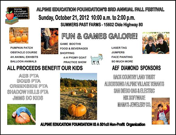 Alpine Education Foundation Fall Festival 2012 Alpine Ca 91901