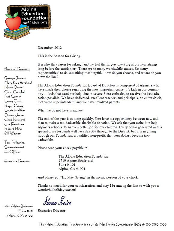 Alpine Education Foundation Holiday Giving Letter 2012
