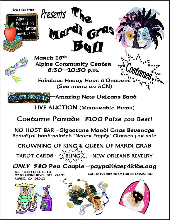 Alpine Education Foundation Mardi Gras Ball Alpine Ca 91901