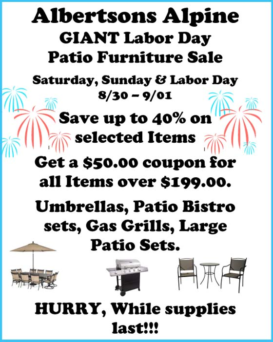 Albertsons GIANT Labor Day Weekend PATIO FURNITURE SALE 8 30 14 to 9 1 14