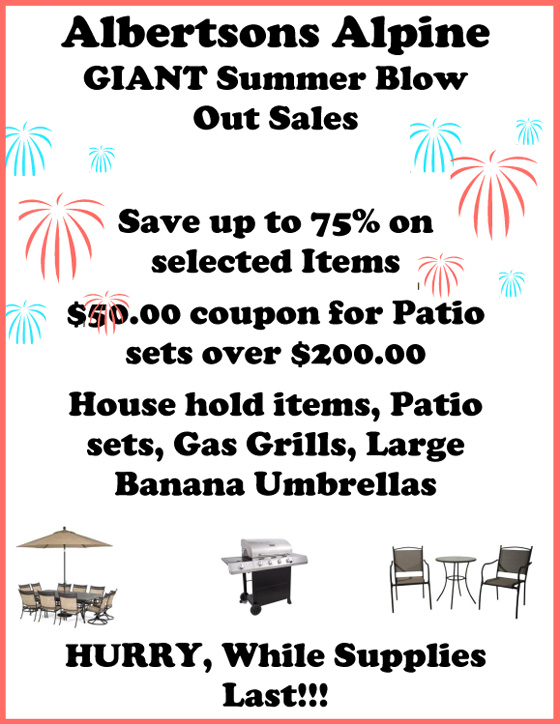 Alpine Albertsons GIANT Summer Blow Out Patio Furniture Sale Alpine muni