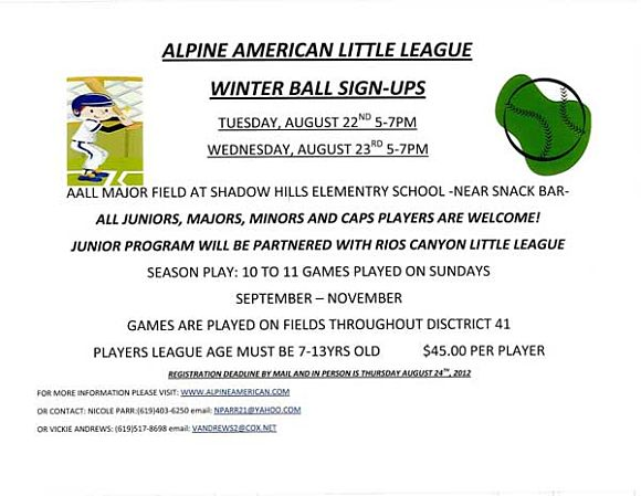 All American Little League Winter Ball Sign Ups 2012