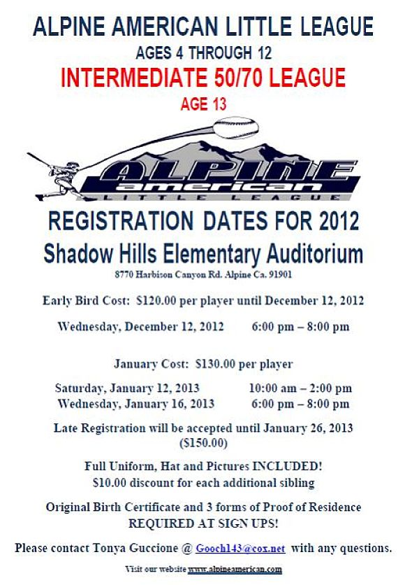 Alpine American Little League Registration_2012