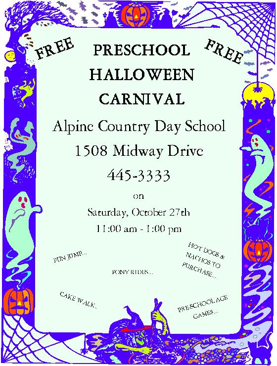 Preschool Halloween Carnival at Alpine Country Day School ...