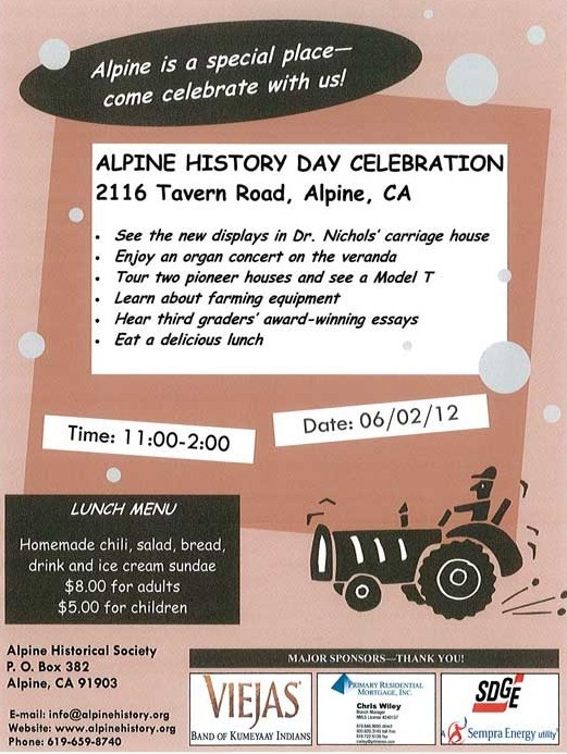 Alpine History Day Flyer 2012