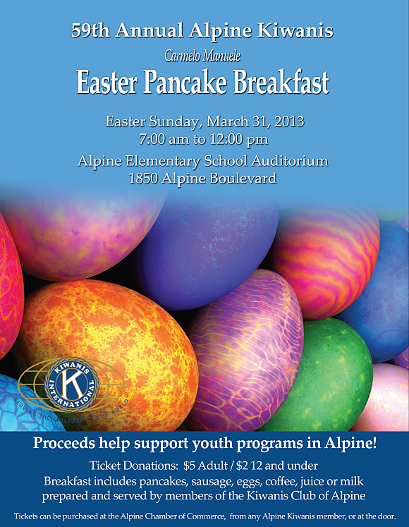 Alpine Kiwanis Easter Pancake Breakfast 2013