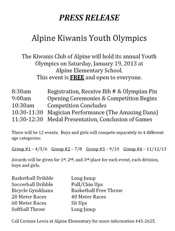 Alpine Kiwanis Youth Olympics 2013