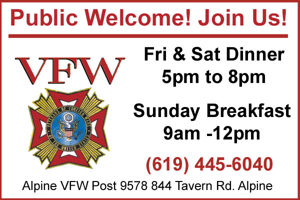Alpine VFW Dinners & Breakfast Sign