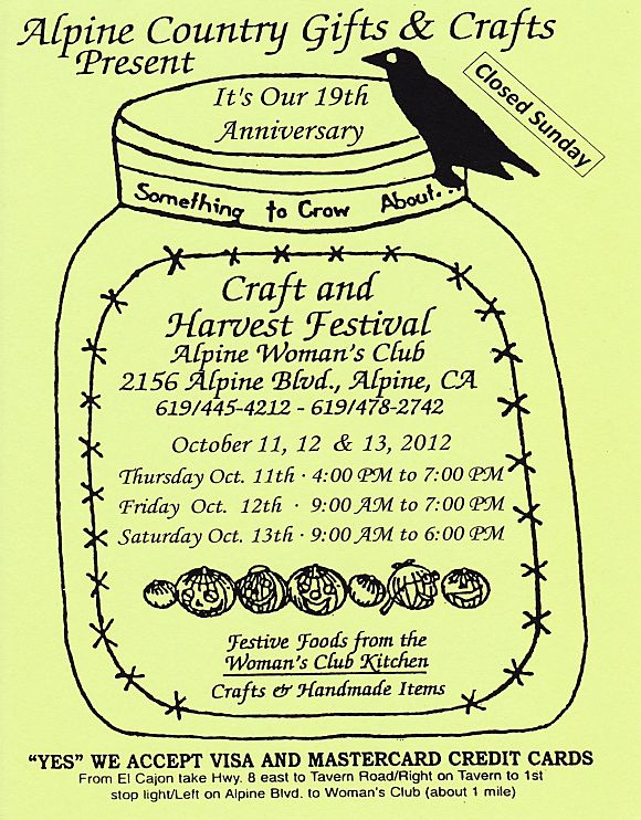 Alpine Womans Club Craft Fair Oct 2012 Alpine Ca 91901