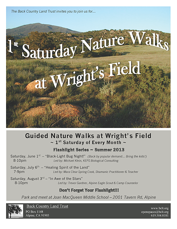 BCLT 1st Saturday Nature Walk Flyer Summer 2013