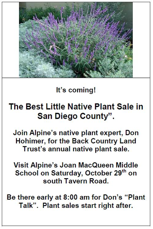 Back Country Land Trust Plant Sale October 23 2011 Alpine ca 91901