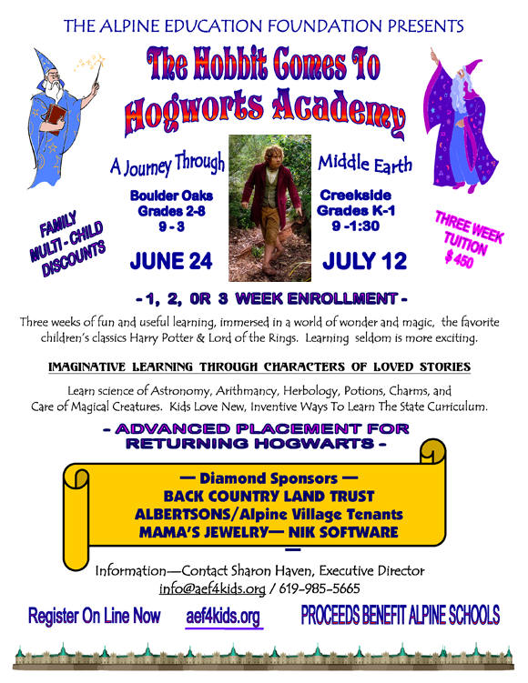 Alpine education foundation HOGWARTS FLYER 2013