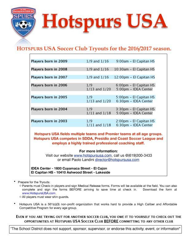 HOTSPURS SOCCER Tryout Flyer-Youngers-2016