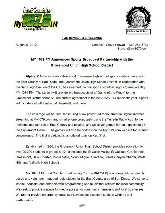 My1079 GUSHD Sports Broadcast Press Release