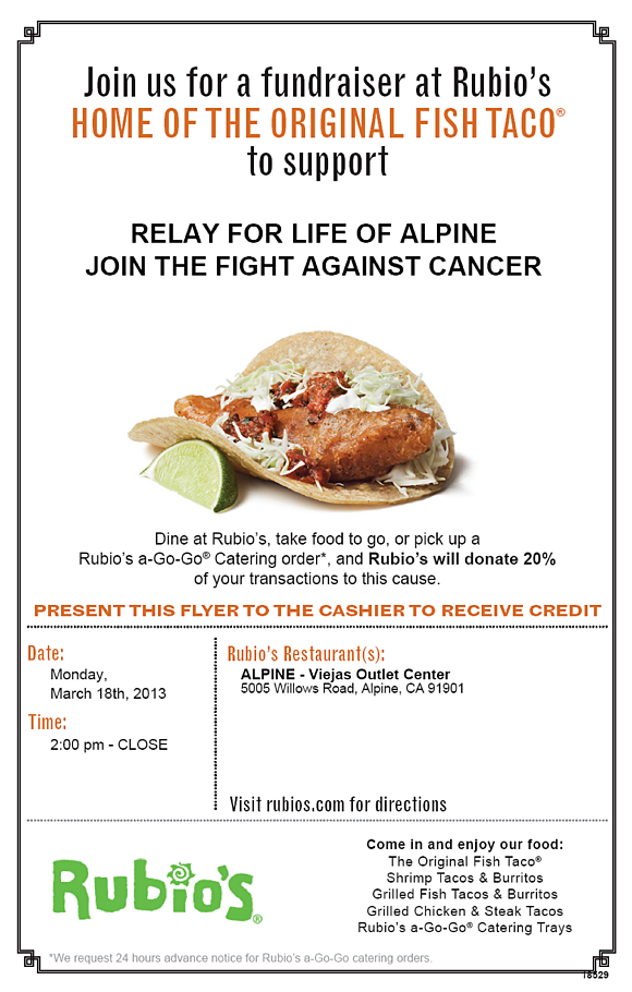 Alpine Relay for life Rubios fundraiser Mar 2013