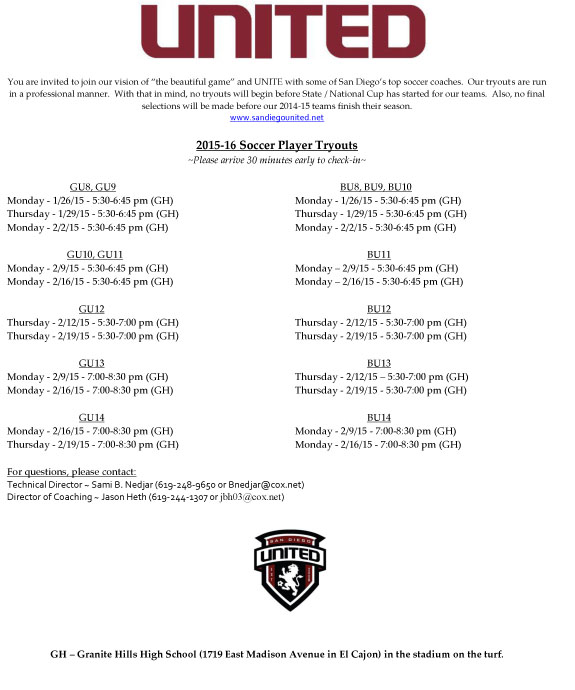 SD United Tryout Flyer 2015