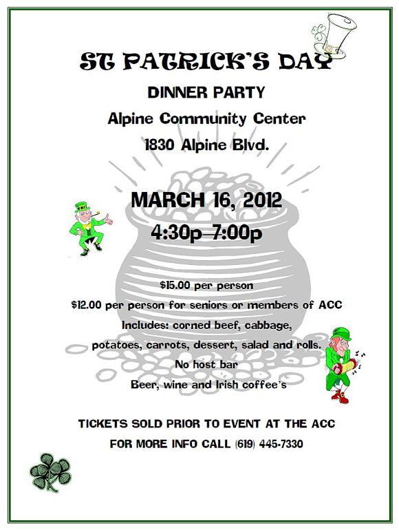 St. Patrick's Day Dinner at the Alpine Community Center 2012 Alpine Ca 91901