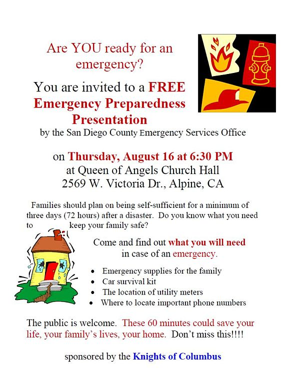 emergency preparedness class Queen of Angels church alpine ca 91901 2012